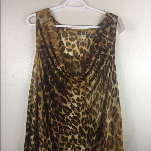 Animal Print Sleeveless Drape Neck Top Plus Size